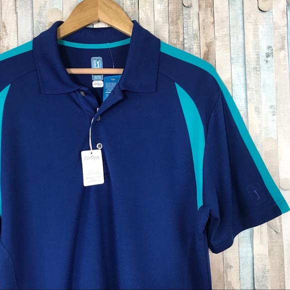 8bfa85fad PGA Tour Shirts | Nwt L Bright Blue Airflux Polo Golf Shirt | Poshmark